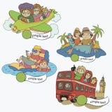 Icone di viaggio messe. Vettore Fotografie Stock Libere da Diritti