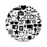 Icone di viaggio nel cerchio Fotografia Stock