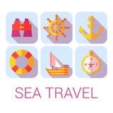 Icone di viaggio per mare di vettore nello stile piano Fotografia Stock
