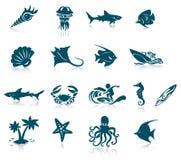 Icone di vita marina Immagini Stock Libere da Diritti
