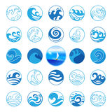 Icone di Wave messe Progettazione di simbolo o di logo dell'acqua Oceano, mare, spiaggia Fotografie Stock