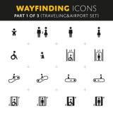 Icone di Wayfinding di vettore messe Fotografia Stock Libera da Diritti