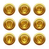 Icone di Web del tasto dell'oro, insieme 12 Fotografia Stock Libera da Diritti