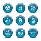 Icone di Web della sfera di vetro, insieme 15 Immagini Stock