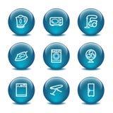 Icone di Web della sfera di vetro, insieme 18 Fotografie Stock