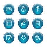Icone di Web della sfera di vetro, insieme 8 Immagine Stock