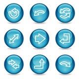 Icone di Web delle frecce, serie lucida blu della sfera Immagine Stock