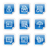 Icone di Web di attività bancarie, serie lucida blu dell'autoadesivo Fotografia Stock