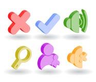 Icone di Web di colore 3d Fotografie Stock