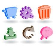 Icone di Web di colore 3d Fotografia Stock Libera da Diritti