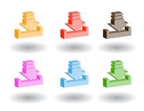 Icone di Web di colore 3d. Illustrazione di vettore Immagini Stock Libere da Diritti