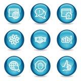 Icone di Web di comunicazione del Internet, sfera lucida Fotografie Stock Libere da Diritti