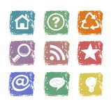Icone di Web di Grunge Fotografie Stock Libere da Diritti