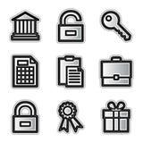 Icone di Web di vettore, conto d'argento Fotografia Stock