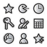 Icone di Web di vettore, favoriti d'argento di profilo Fotografia Stock
