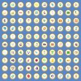 100 icone di web e di seo hanno fissato il vettore del fumetto Fotografie Stock Libere da Diritti