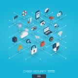 Icone di web integrate sicurezza cyber 3d Concetto interattivo isometrico della rete digitale Fotografia Stock