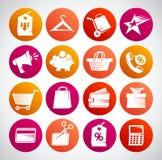 Icone di web per la compera, l'affare, la finanza e la comunicazione Immagini Stock
