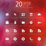 Icone di web su fondo vago Fotografia Stock