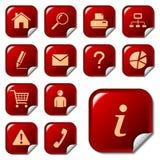 Icone di Web sui tasti dell'autoadesivo Immagini Stock