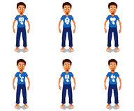 Icone di web sul personaggio dei cartoni animati Fotografia Stock