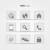 Icone di web sull'illustrazione grigia del fondo Immagini Stock
