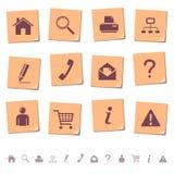 Icone di Web sulle note 1 dell'appunto Immagine Stock