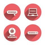 Icone di Webinar Macchina fotografica di web e segni di Notebook PC Fotografia Stock Libera da Diritti