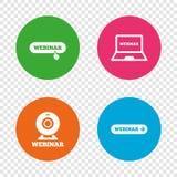 Icone di Webinar Macchina fotografica di web e segni di Notebook PC Fotografie Stock Libere da Diritti