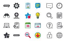 Icone di Webinar Macchina fotografica di web e segni di Notebook PC Immagini Stock