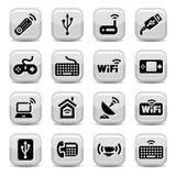 Icone di wifi ed elettroniche Fotografia Stock Libera da Diritti