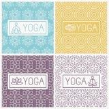 Icone di yoga di vettore e linea distintivi royalty illustrazione gratis