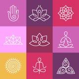 Icone di yoga di vettore e linea rotonda segni Fotografia Stock