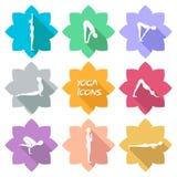 Icone di yoga Progettazione piana Ombra € Fotografia Stock