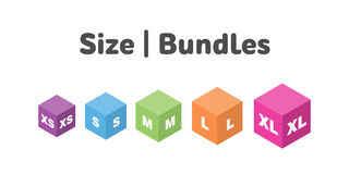 Icone differenti del pacco di dimensione messe Vettore letterale di simbolo di misura royalty illustrazione gratis