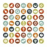 49 icone differenti dell'alimento TUTTO IL NUOVE Fotografia Stock