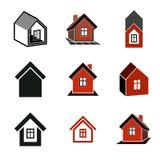 Icone differenti delle case per uso nella progettazione grafica, insieme Fotografia Stock Libera da Diritti
