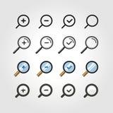 Icone differenti dello zoom messe Elementi di disegno Immagini Stock