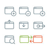 Icone differenti di web browser messe Fotografia Stock Libera da Diritti