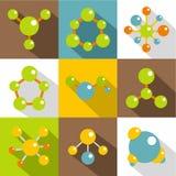 Icone differenti messe, stile piano della molecola Fotografia Stock