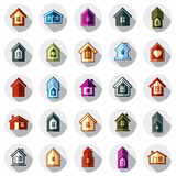 Icone differenti variopinte delle case per uso nella progettazione grafica, insieme Fotografie Stock Libere da Diritti
