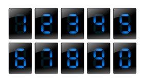 Icone digitali blu di numero Fotografie Stock Libere da Diritti