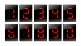 Icone digitali rosse di numero Fotografie Stock