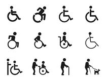 Icone disabili di handicap royalty illustrazione gratis