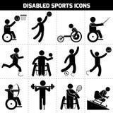Icone disabili di sport Fotografia Stock Libera da Diritti