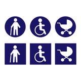 Icone disabili per progettazione Vettore Bianco nel begraund blu royalty illustrazione gratis