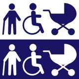 Icone disabili per progettazione Vettore Bianco nel begraund blu illustrazione di stock