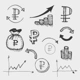 Icone disegnate grafico Fotografia Stock
