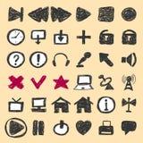 Icone disegnate a mano Immagini Stock Libere da Diritti