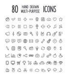 80 icone disegnate a mano Immagini Stock Libere da Diritti